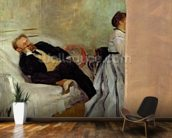 Monsieur and Madame Edouard Manet, 1868-69 (oil on canvas) mural wallpaper kitchen preview