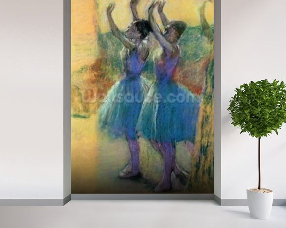 Two Blue Dancers (pastel on paper) mural wallpaper room setting