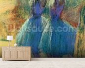 Two Blue Dancers (pastel on paper) mural wallpaper living room preview