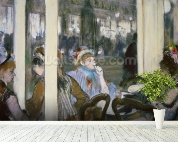 Women on a Cafe Terrace, 1877 (pastel on monotype) wall mural room setting