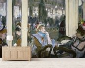 Women on a Cafe Terrace, 1877 (pastel on monotype) wall mural living room preview