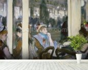 Women on a Cafe Terrace, 1877 (pastel on monotype) wall mural in-room view