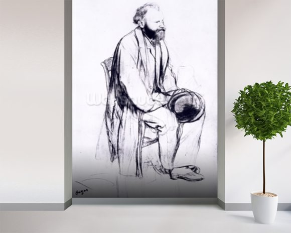 Study for a portrait of Manet (black chalk) wallpaper mural room setting