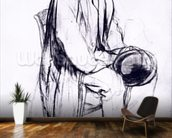 Study for a portrait of Manet (black chalk) wallpaper mural kitchen preview