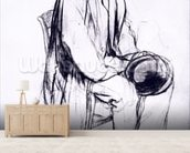 Study for a portrait of Manet (black chalk) wallpaper mural living room preview
