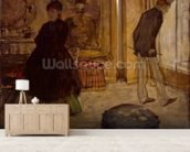Interior with Two Figures, 1869 (oil on canvas) wall mural living room preview