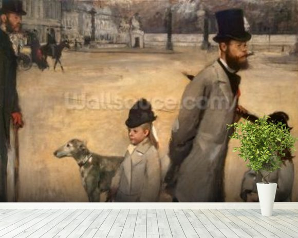 Place de la Concorde, 1875 (oil on canvas) wallpaper mural room setting