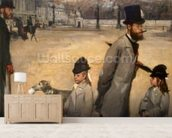 Place de la Concorde, 1875 (oil on canvas) wallpaper mural living room preview