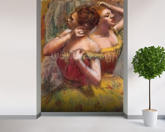 Two Dancers (pastel on paper) wall mural room setting