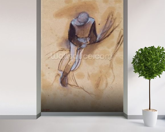 Jockey flexed forward standing in the saddle, 1860-90 (pastel & charcoal on paper) wallpaper mural room setting
