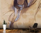 Jockey flexed forward standing in the saddle, 1860-90 (pastel & charcoal on paper) wallpaper mural kitchen preview