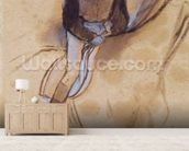 Jockey flexed forward standing in the saddle, 1860-90 (pastel & charcoal on paper) wallpaper mural living room preview