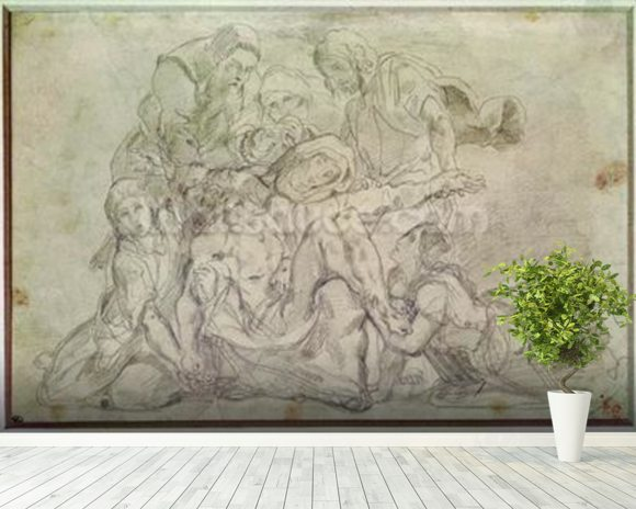 Pieta (pencil on paper) wallpaper mural room setting