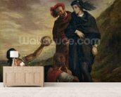 Hamlet and Horatio in the Cemetery, from Scene 1, Act V of Hamlet by William Shakespeare (1564-1616) 1839 (oil on canvas) wall mural living room preview