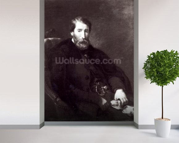 Portrait of Alfred Bruyas (1821-77) (oil on canvas) (b/w photo) wallpaper mural room setting