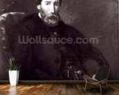 Portrait of Alfred Bruyas (1821-77) (oil on canvas) (b/w photo) wallpaper mural kitchen preview