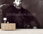 Portrait of Alfred Bruyas (1821-77) (oil on canvas) (b/w photo) wallpaper mural living room preview