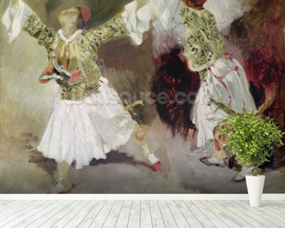 Two Greek Soldiers Dancing (Study of Soliote Dress) (oil on canvas) mural wallpaper room setting