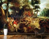 The Wild Boar Hunt, after a painting by Rubens, c.1840-50 (oil on canvas) wallpaper mural kitchen preview