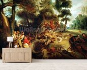 The Wild Boar Hunt, after a painting by Rubens, c.1840-50 (oil on canvas) wallpaper mural living room preview