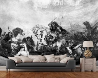 Attila the Hun (c.406-453) and his hordes overrunning Italy and the Arts, 1838-47 (mural) (b/w photo) mural wallpaper