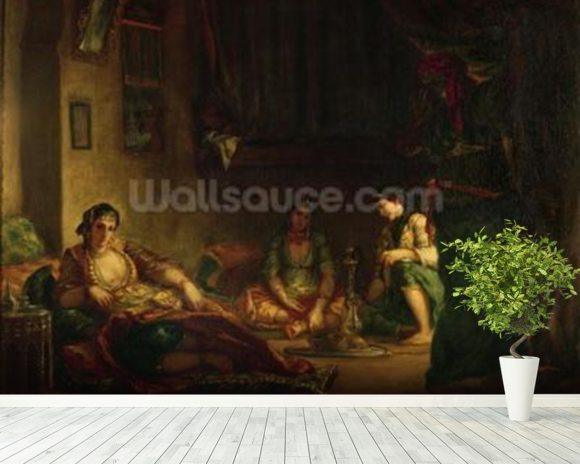 The Women of Algiers in their Harem, 1847-49 (oil on canvas) wall mural room setting