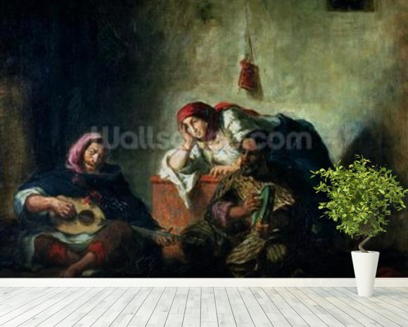 Jewish Musicians in Mogador, 1847 (oil on canvas) mural wallpaper room setting