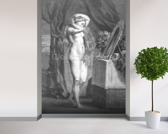 The Levee (engraving) (b/w photo) mural wallpaper room setting
