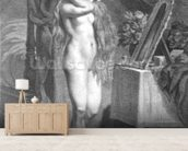 The Levee (engraving) (b/w photo) mural wallpaper living room preview
