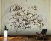 Study for the Death of Sardanapalus, 1864 (pen & ink and graphite on paper) wall mural kitchen preview