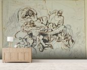 Study for the Death of Sardanapalus, 1864 (pen & ink and graphite on paper) wall mural living room preview