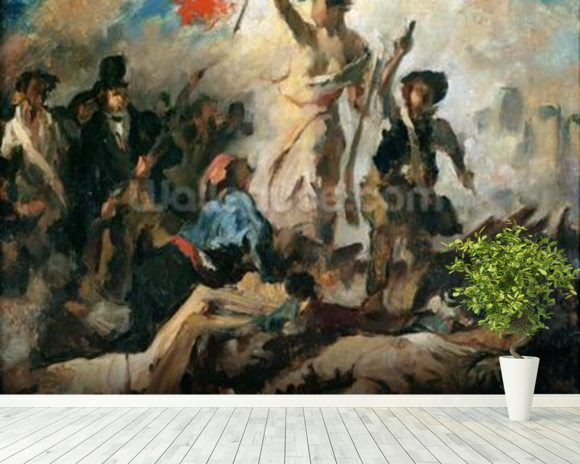 Study for Liberty Leading the People (oil on canvas) mural wallpaper room setting