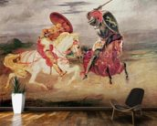 Two Knights Fighting in a Landscape, c.1824 (oil on canvas) wall mural kitchen preview