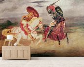 Two Knights Fighting in a Landscape, c.1824 (oil on canvas) wall mural living room preview
