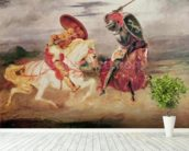 Two Knights Fighting in a Landscape, c.1824 (oil on canvas) wall mural in-room view