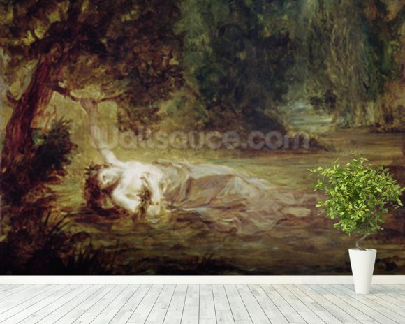 The Death of Ophelia, 1838 (oil on canvas) mural wallpaper room setting