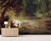The Death of Ophelia, 1838 (oil on canvas) mural wallpaper living room preview