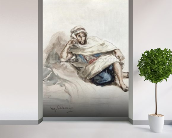 Seated Arab (w/c on paper) wall mural room setting