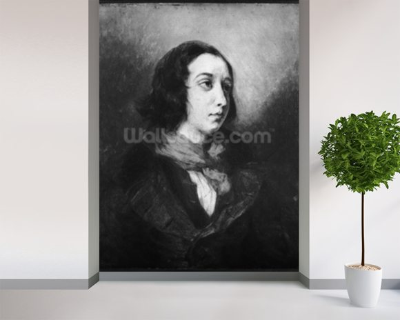 Portrait of George Sand, 1838 (oil on canvas) (b/w photo) wallpaper mural room setting