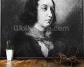 Portrait of George Sand, 1838 (oil on canvas) (b/w photo) wallpaper mural kitchen preview