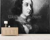 Portrait of George Sand, 1838 (oil on canvas) (b/w photo) wallpaper mural living room preview