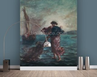 Christ walking on water and reaching out his hand to save Saint Peter (oil on canvas) wall mural
