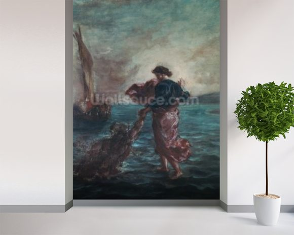 Christ walking on water and reaching out his hand to save Saint Peter (oil on canvas) wall mural room setting