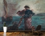 Christ walking on water and reaching out his hand to save Saint Peter (oil on canvas) wall mural kitchen preview