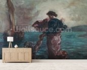 Christ walking on water and reaching out his hand to save Saint Peter (oil on canvas) wall mural living room preview