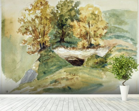 Three trees at the edge of a hill (w/c on paper) wallpaper mural room setting