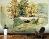 Three trees at the edge of a hill (w/c on paper) wallpaper mural kitchen preview