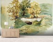 Three trees at the edge of a hill (w/c on paper) wallpaper mural living room preview