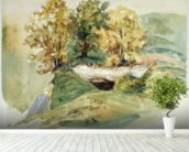Three trees at the edge of a hill (w/c on paper) wallpaper mural in-room view