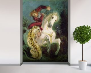 Jaguar Attacking a Horseman, c.1855 (oil on canvas) mural wallpaper